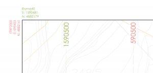Cartiglio con coordinate di planimetria georeferenziata
