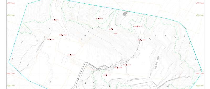 Restituzione planimetrico rilievo topografico cava di marmo - Carrara