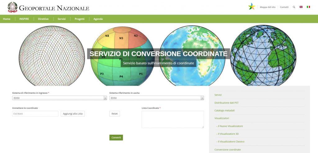 Homepage del sito del Geoportale Nazionale per la Trasformazione di Coordinate