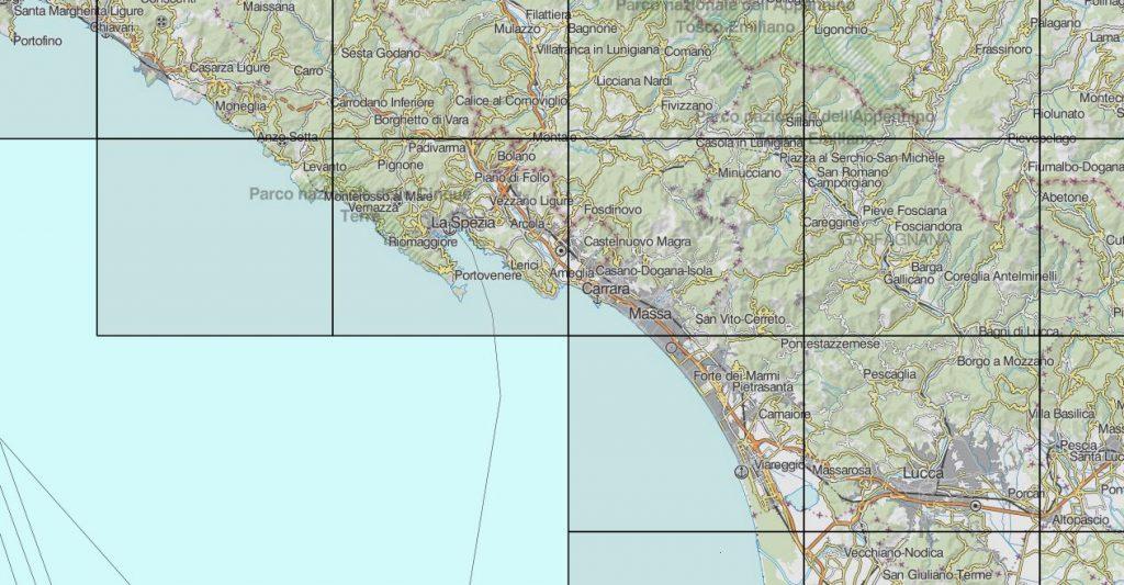 Individuazione delle aree coperte dai grigliati IGM GK2