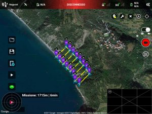 Screenshot di mission planner per drone