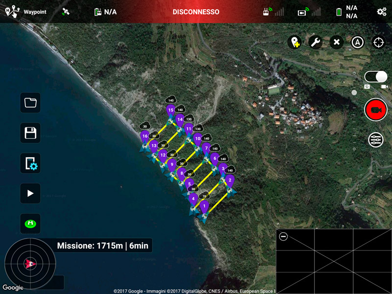 Screenshot di mission planner per drone
