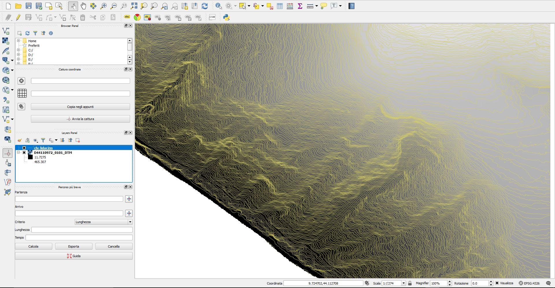 Immagine che mostra l'elaborazione di dati LIDAR DTM con software QGIS