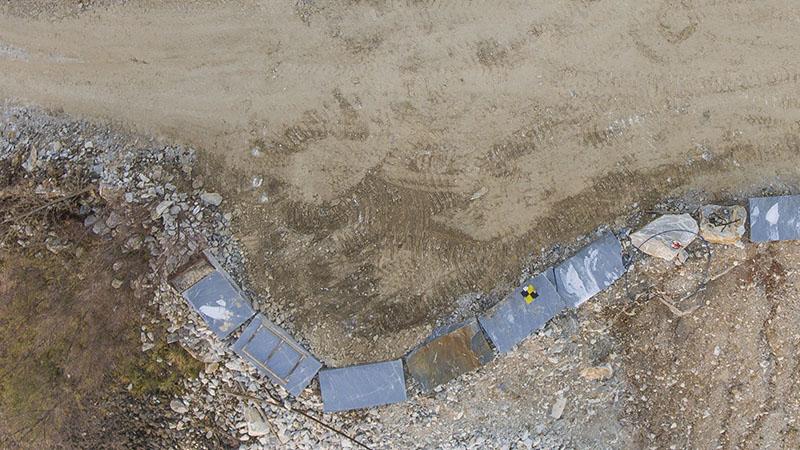Dettaglio di fotografia nadirale di cava con GCP