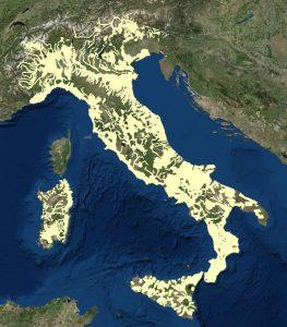 Immagine che mostra la copertura nazionale del rilievo LIDAR con maglia 1m