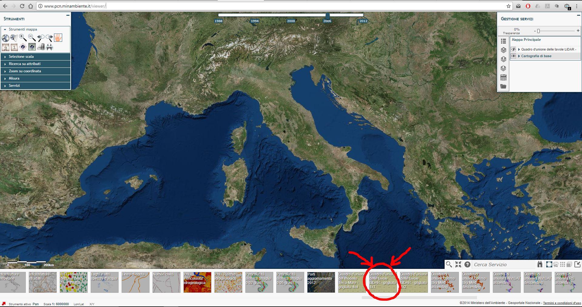 Immagini che mostra come caricare il quadro di unione delle tavole LIDAR 1m dal visualizzatore del portale cartografico nazionale