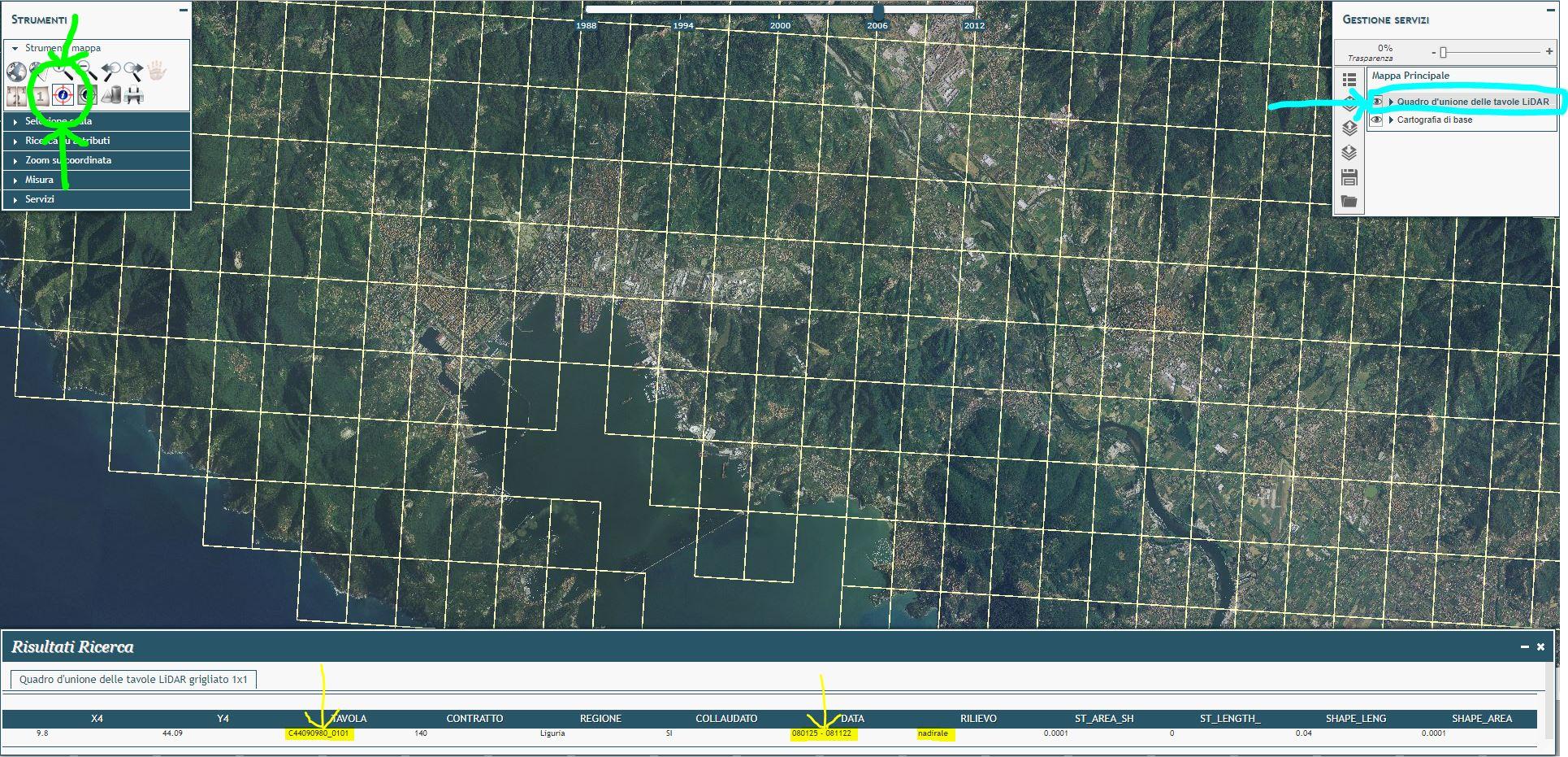 Immagine che mostra come selezionare le tavole del LIDAR 1m dal portale cartografico nazionale per ricavarne informazioni e numero