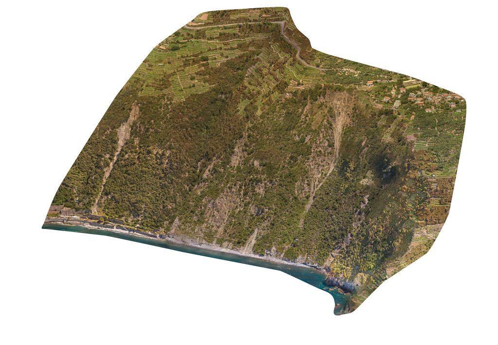 Immagine assonometrica di area rilevata - punto di vista Sud Ovest