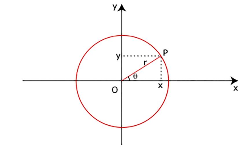 Immagine che raffigura le coordinate polari di un punto nel piano