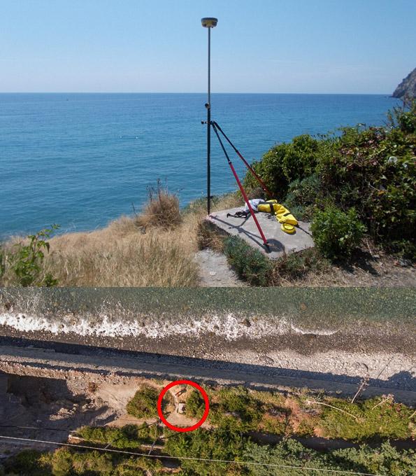 Due immagini che rappresentano il rilievo di un punto di controllo di rilievo con drone mediante antenna GPS