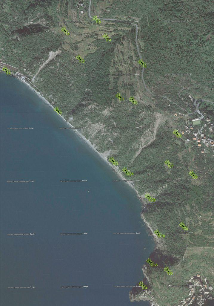 Planimetria con indicazione dei punti di decollo di missioni di rilievo con drone