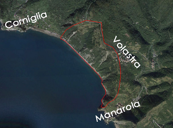 Immagine di planimetria su base ortofoto con indicazione dei confini dell'area di rilievo lungo il Sentiero Azzurro - 5 Terre