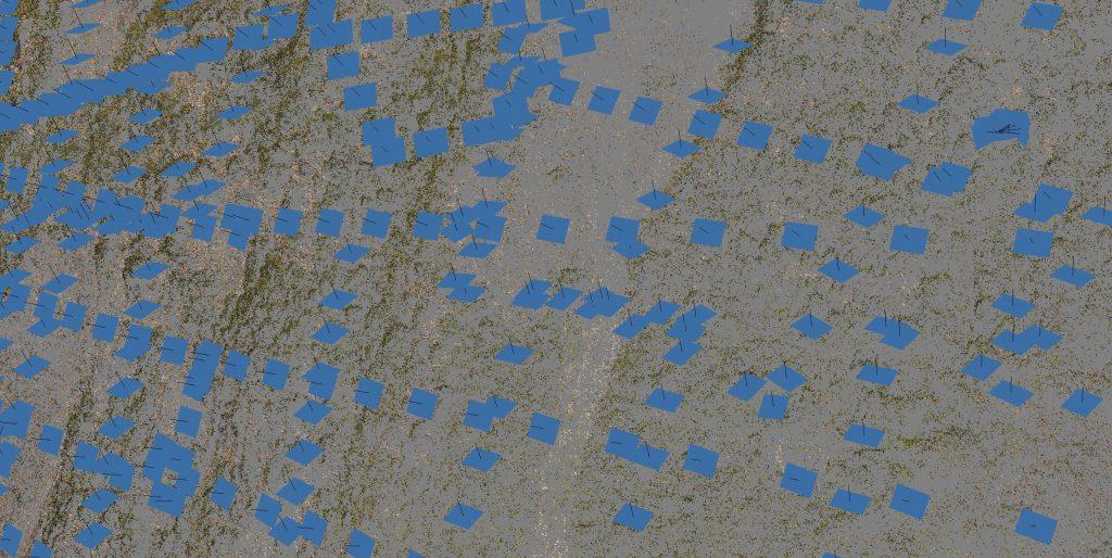 Posizione dei punti di ripresa fotografica nella modellazione 3D di rilievo aerofotogrammetrico
