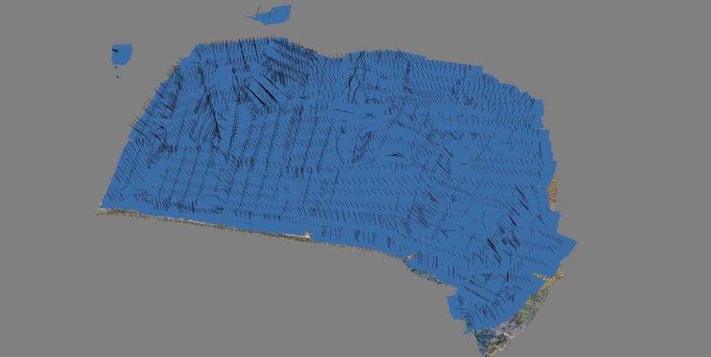 Posizione dei punti di ripresa fotografica nella modellazione 3D di rilievo aerofotogrammetrico - vista generale