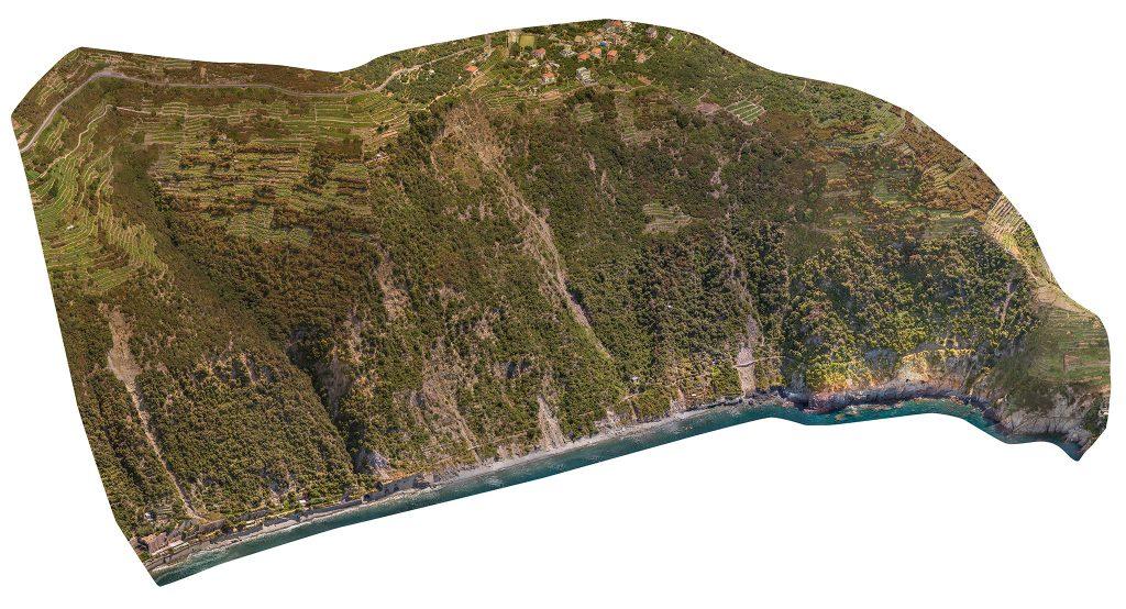 Immagine assonometrica di area rilevata - punto di vista Nord Ovest