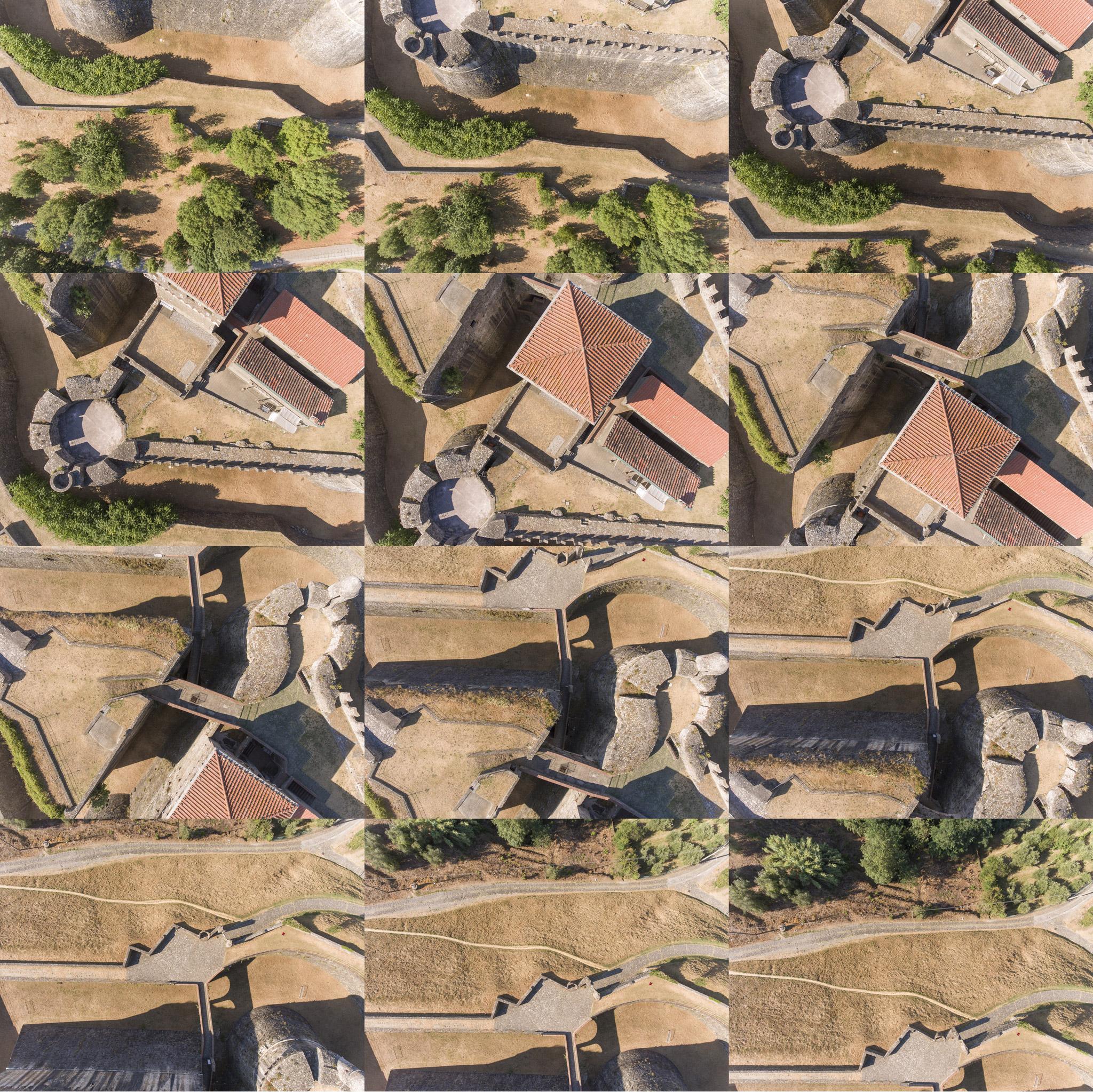Insieme di foto aeree riprese durante un rilievo aerofotogrammetrico con drone di forte medievale