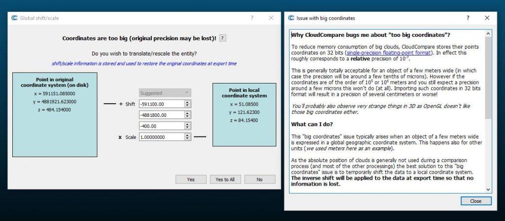 Finestra di avvertimento per la traslazione di coordinate di un file las in Cloud Compareertimento per