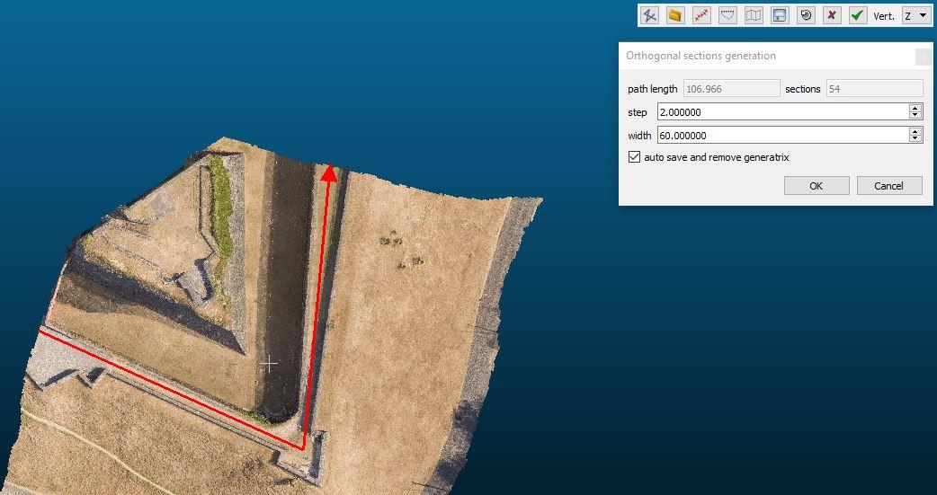 Screenshot di Cloud Compare dove di selezione il passo e la larghezza delle sezionii