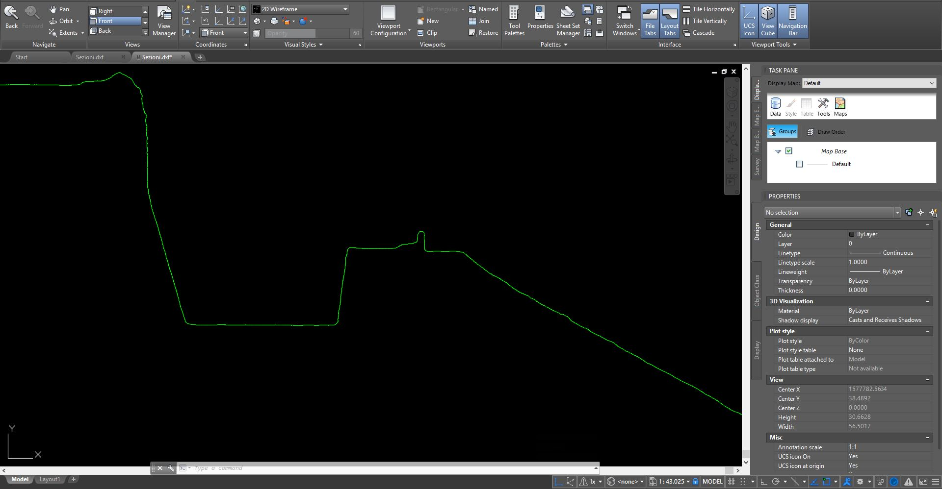 Screenshot di una sezione estratta da Cloud Compare ed importata in Autocad
