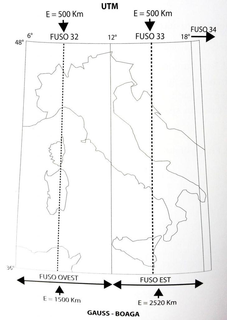 Immagine che rappresenta la suddivisione del territorio italiano nel sistema cartografico UTM e Roma 40