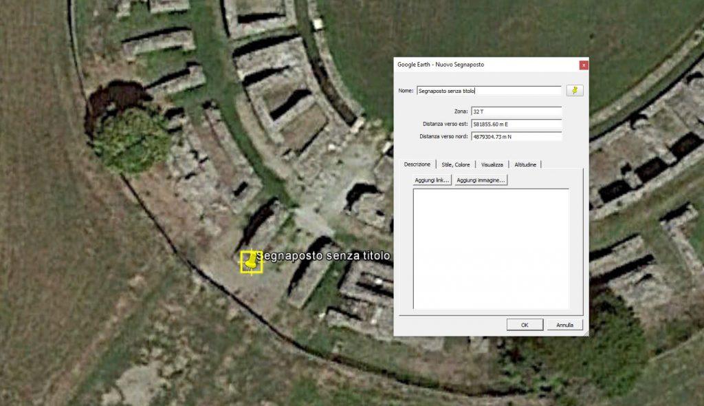 Finestra di Google Earth che mostra la detereminazione delle coordinate dei punti di controllo per la georeferenziazione di un'immagine