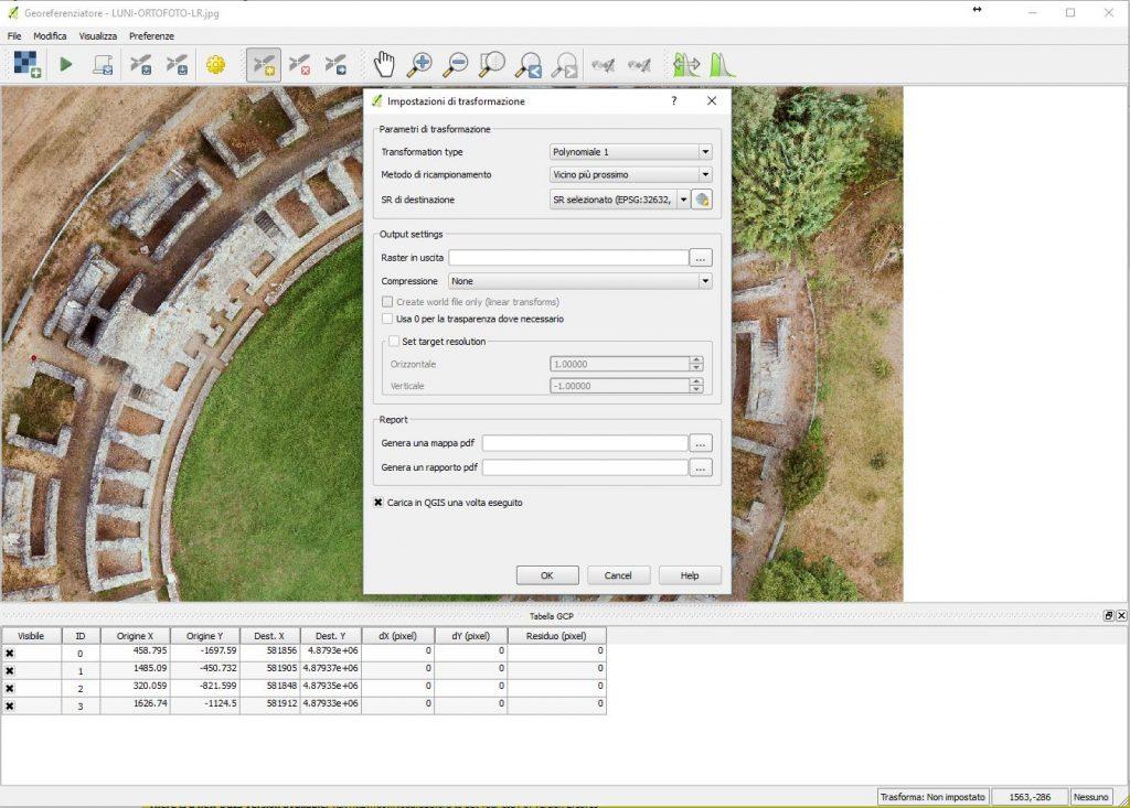 Schermata di QGIS per la scelta delle impostazioni di trasformazione nel processo di georeferenziazione di un'immagine