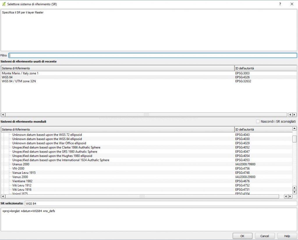 Screenshot di QGIS per Scegliere il sistema di riferimento nel processo di georeferenziazione