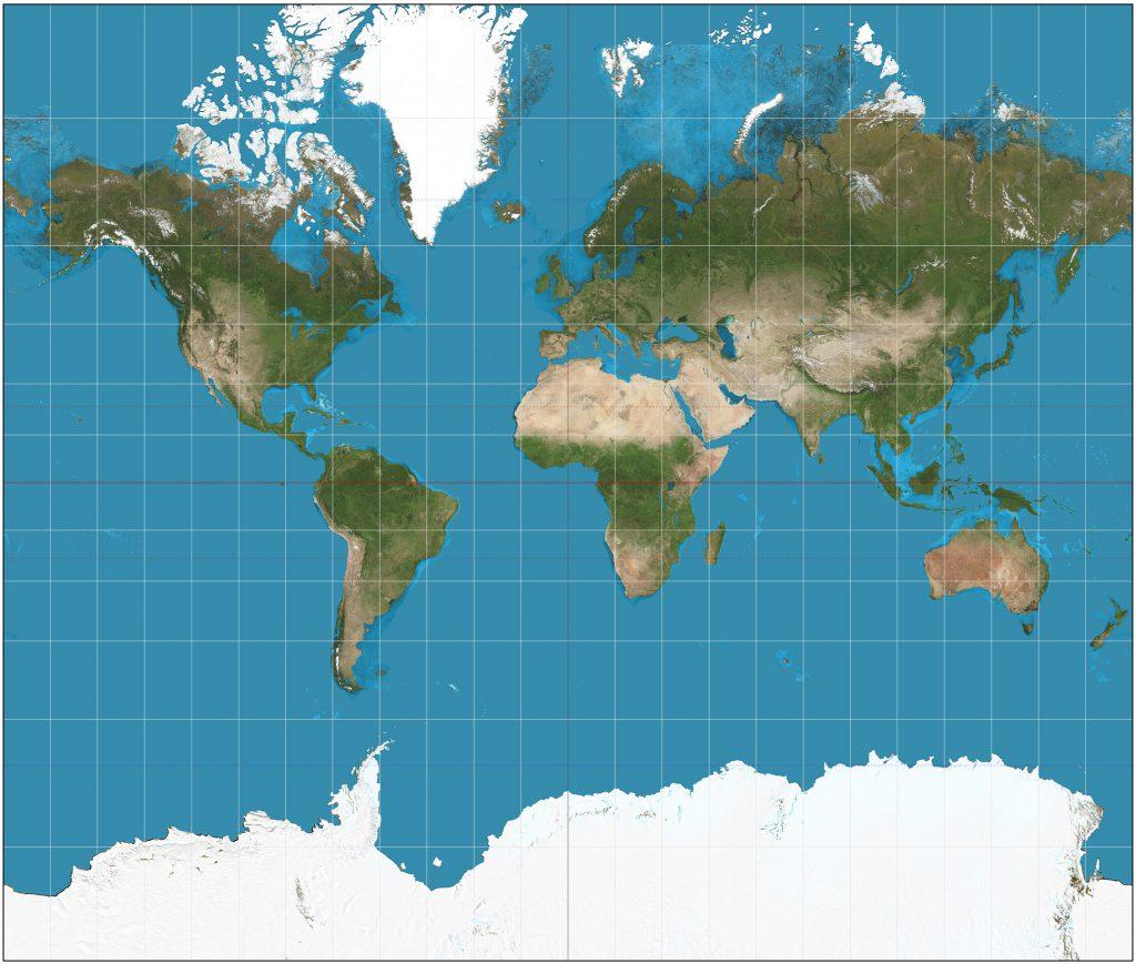 Immagine della Terra sviluppata su un piano secondo la proezione di Mercatore