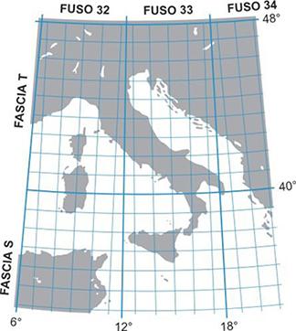 Rappresentazionde del reticolato UTM in Italia