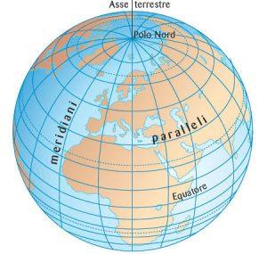 Immagine che mostra il reticolato geografico formato da paralleli e meridiani sulla superficie terrestre