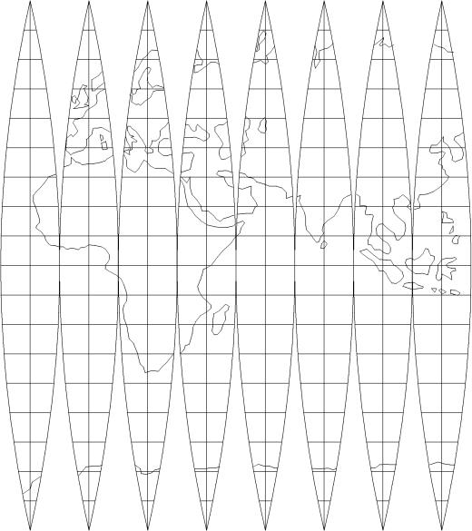 Rappresentazione piana dei fusi di meridiano nella cartografia UTM