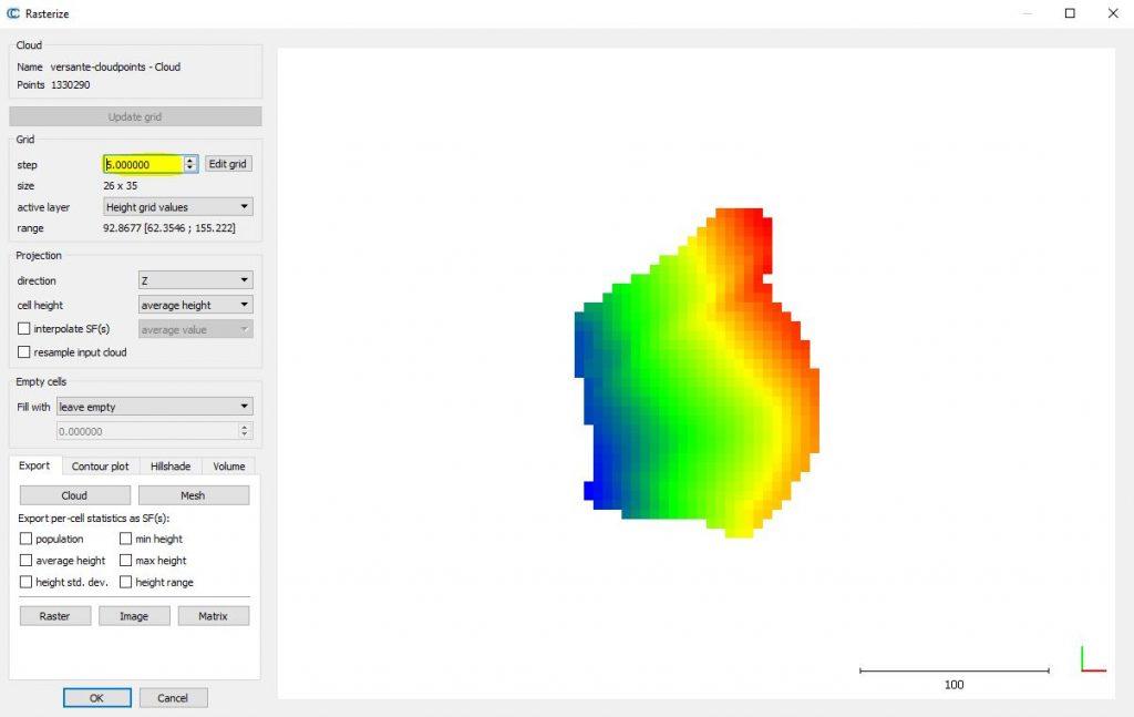 Immagine di Cloud Comapare in cui si vede un DEM con passo 5