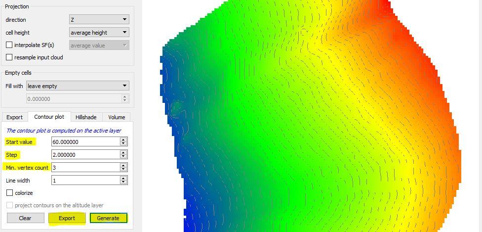 Immagine di Cloud Compare in cui si estraggono curve di livello da DEM