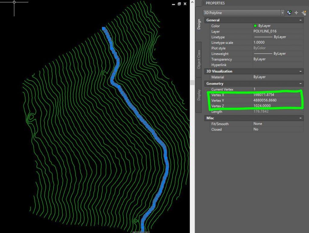 Immagine di AutoCAD in cui sono rappresentate curve di livello generate con Cloud Compare