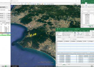 Immagine di finestre di lavoro aperte di Google Earth Pro ed Excel