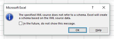 Messaggio di apertura di file kml in Microsoft Excel