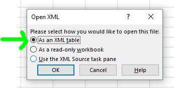Messaggio di apertura di file kml in Microsoft Excel com tabella XML