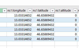Punti importati da Google Earth in Excel