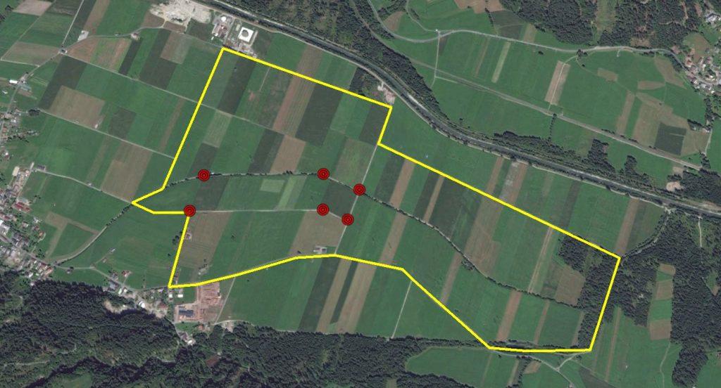 Immagine di un percorso tracciato in Google Earth