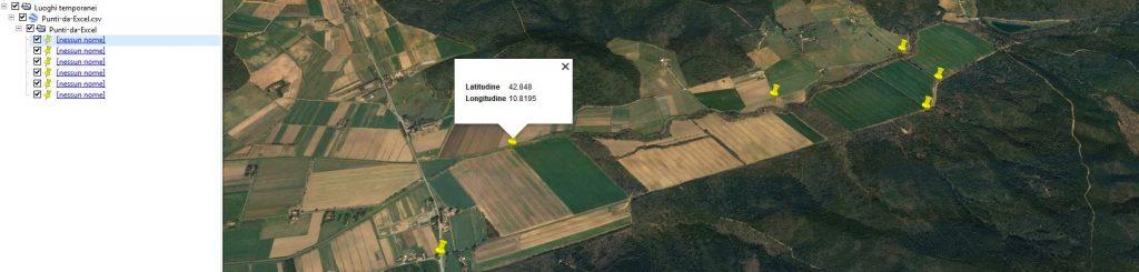 Importazione di punti da Excel e file CSV in Google Earth