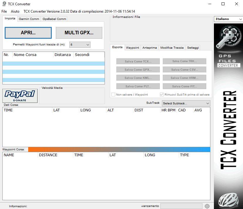Immagine di TCX converter schermata iniziale
