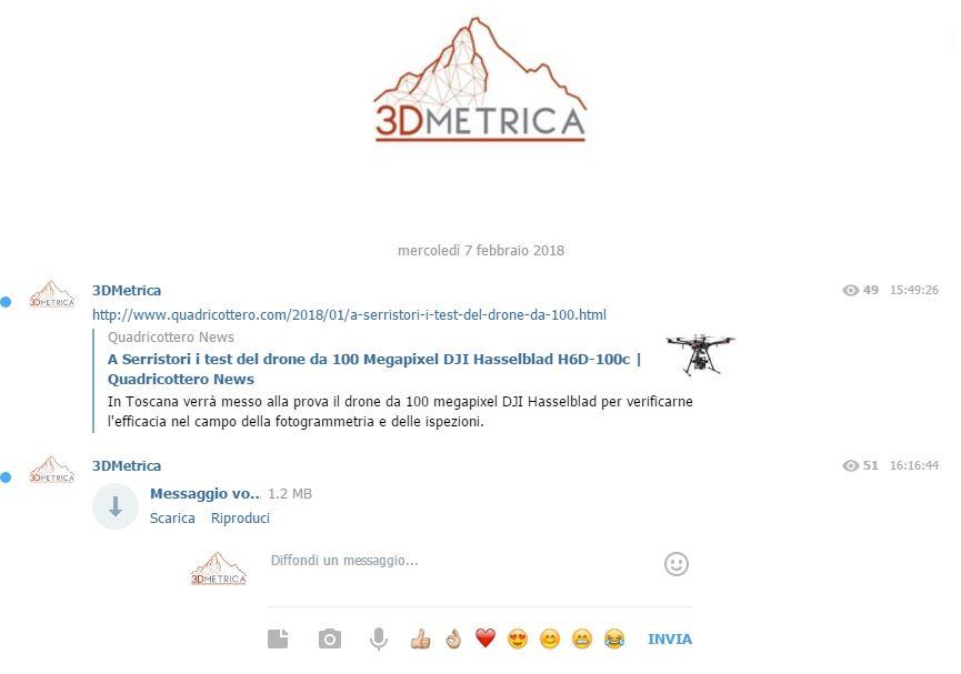 Immagine dal Canale Telegram di 3DMetrica