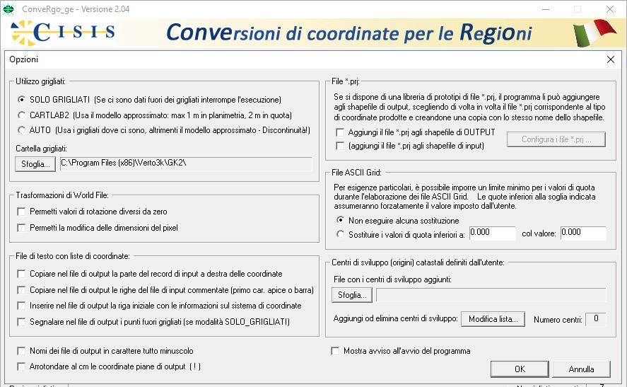 FInestra delle opzioni generali del software Convergo