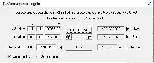 Immagine della finestra di trasformazione di un punto singolo del software Convergo