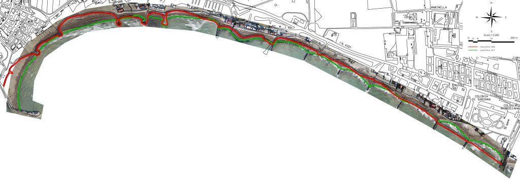 Immagine che mostra i risultati dell'analisi dell'evoluzione della linea di riva mediante aerofotogrammetria da drone lungo litorale sabbioso
