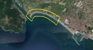 Immagine satellitare con l'indicazione del litorale oggetto di indagine con aerofotogrammetria da drone