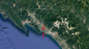 Immagine satellitare con l'area oggetto di indagine con aerofotogrammetria da drone