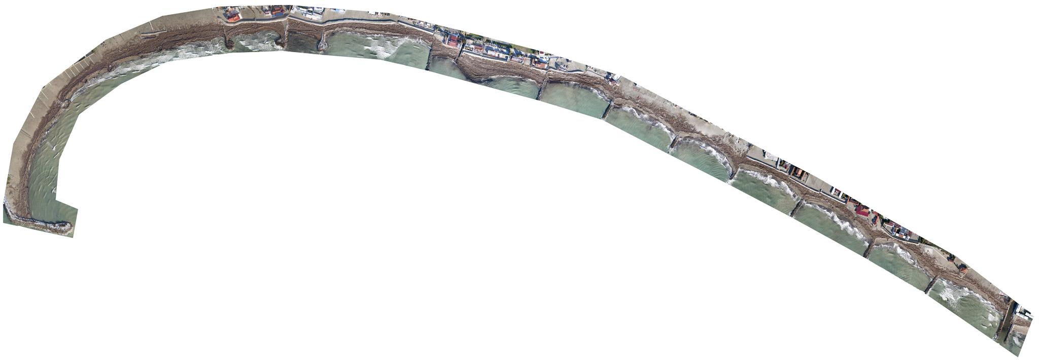 Immagine di ortofoto realizzata con APR e aerofotogrammetria lungo litorale sabbioso alla foce del fiume Magra
