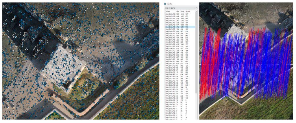 Immagine che mostra il riconoscimento di punti omologhi tra due immagini nella fase di allineamento all'interno di Agisoft Photoscan