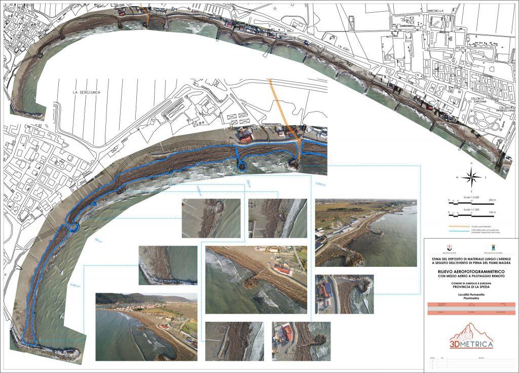 Immagine che mostra i risultati di analisi aerofotogrammetriche mediante APR per la stima dei sedimenti lungo litorale sabbioso - Comune di Ameglia (SP)